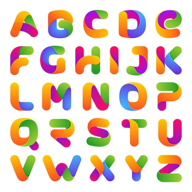 Bunte einzeilige buchstaben gesetzt. auf weiß. schriftart, alphabet Premium Vektoren