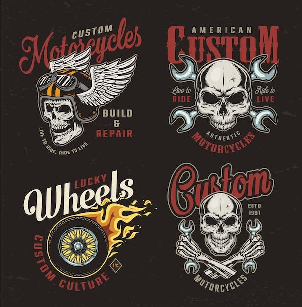 Bunte embleme des weinlese-motorrads Kostenlosen Vektoren