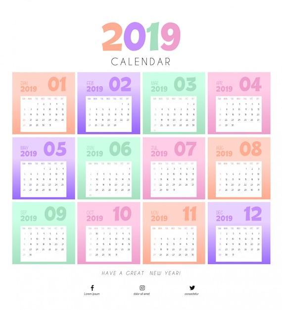 Bunte entwurfsvorlage für 2019 kalender Premium Vektoren