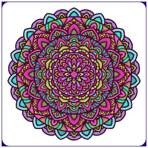 Bunte ethnische mandalakunst mit kreisblumenmotiven Premium Vektoren