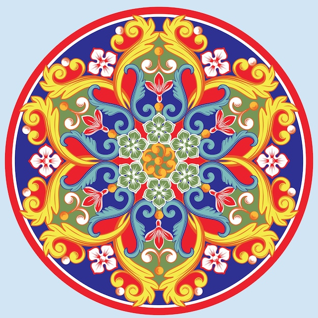Bunte ethnische runde dekorative mandala. orientalisches arabesken-design Premium Vektoren