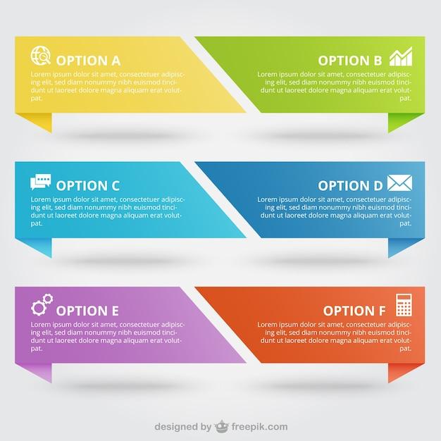 Bunte Fahnen Infografik Premium Vektoren