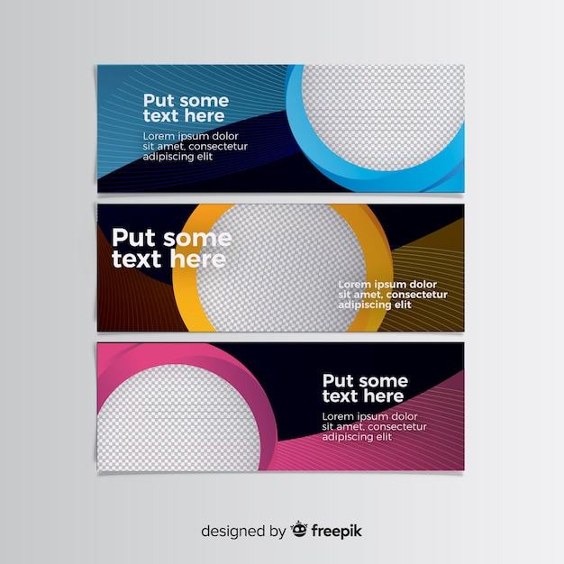 Bunte fahnen mit abstraktem design Kostenlosen Vektoren