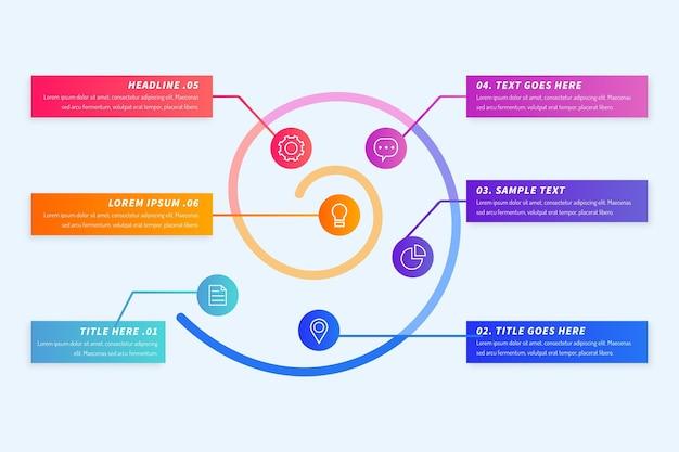 Bunte farbverlaufsspirale infografik Kostenlosen Vektoren