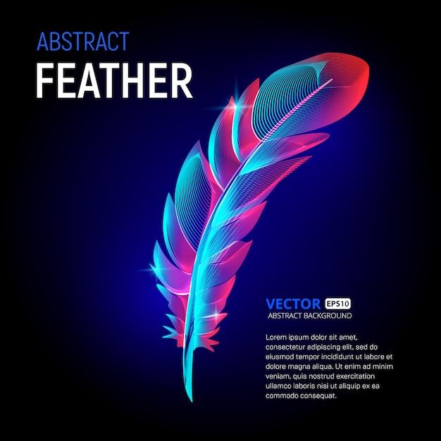Bunte feder oder flauschiges plumelet mit abstrakten formen geometrie linien textur und umriss gradientenwellen Premium Vektoren