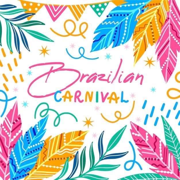 Bunte federn und konfettis übergeben gezogenen brasilianischen karneval Kostenlosen Vektoren