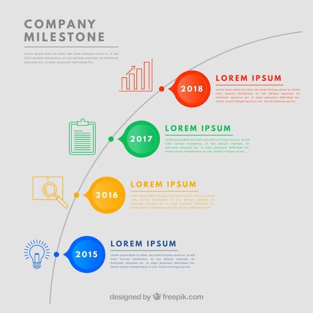 Bunte firmenmeilensteine mit flachem design Kostenlosen Vektoren
