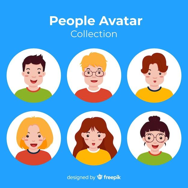 Bunte flache avatar-sammlung Kostenlosen Vektoren