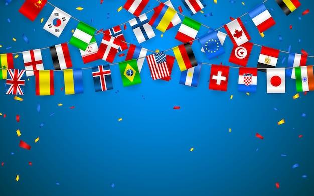 Bunte flaggengirlande verschiedener länder europas und der welt mit konfetti. festliche girlanden des internationalen wimpels. ammerkränze. banner für feier, konferenz. Premium Vektoren