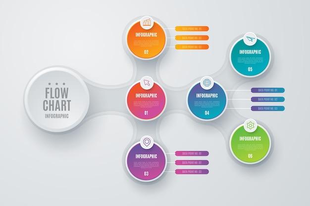 Bunte flussdiagramm-infografik mit details Kostenlosen Vektoren