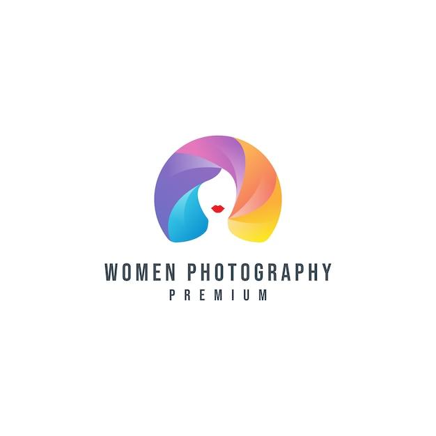 Bunte frauen-fotografie-logo-vorlage Premium Vektoren