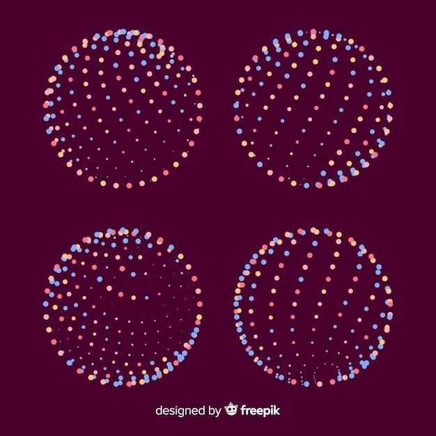 Bunte geometrische formsammlung des partikels 3d Kostenlosen Vektoren