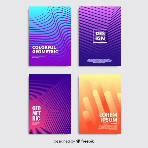 Bunte geometrische linien broschüre gesetzt Kostenlosen Vektoren