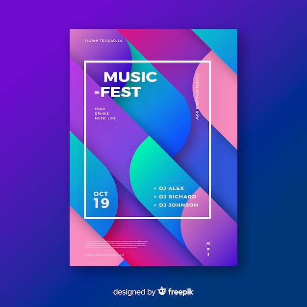 Bunte geometrische musikplakatschablone Kostenlosen Vektoren