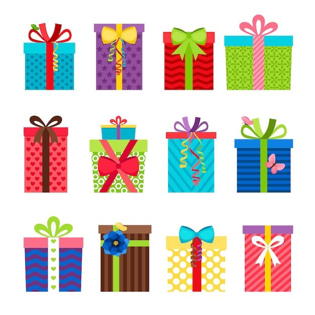 Bunte geschenkboxen mit bändern stellten auf weiß ein Premium Vektoren