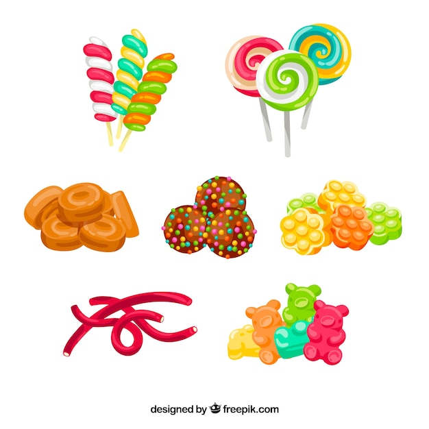 Bunte gezeichnete art der süßigkeitensammlung in der hand Kostenlosen Vektoren