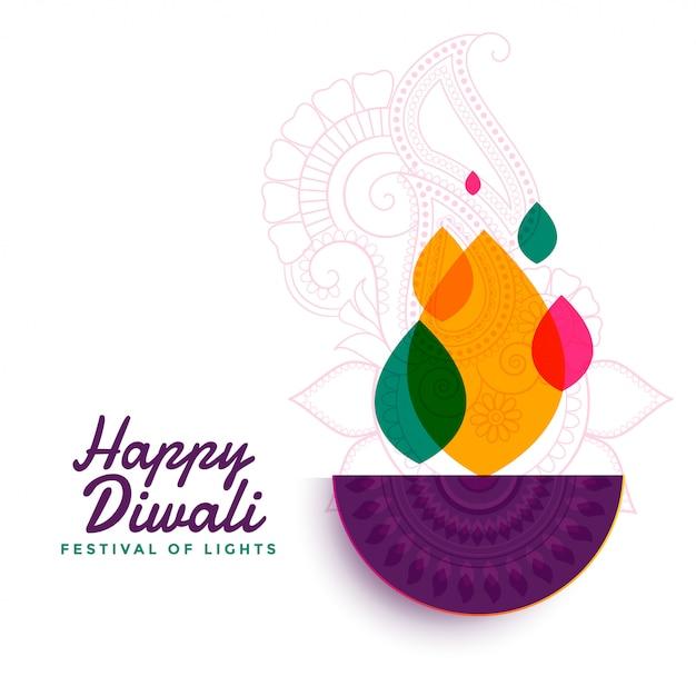 Bunte glückliche diwali festival diya lampe Kostenlosen Vektoren