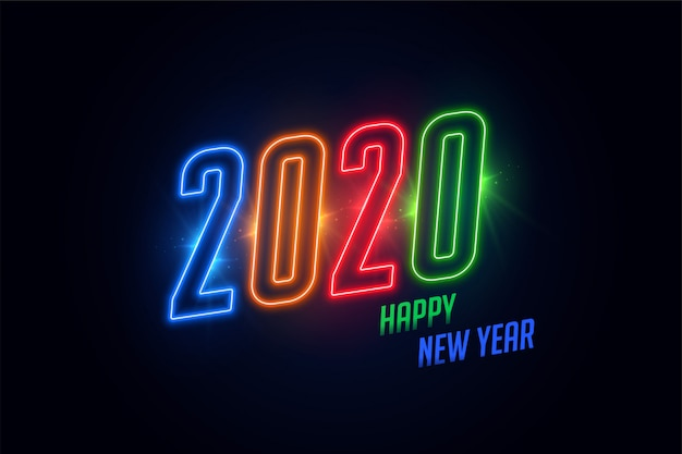 Bunte glühende neongrußkarte des glänzenden 2020 guten rutsch ins neue jahr Kostenlosen Vektoren