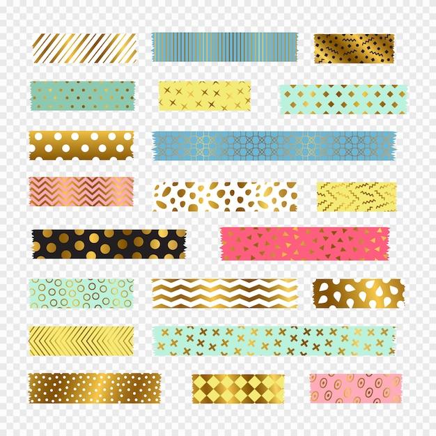 Bunte, goldene washi tape streifen, scrapbook elemente Premium Vektoren