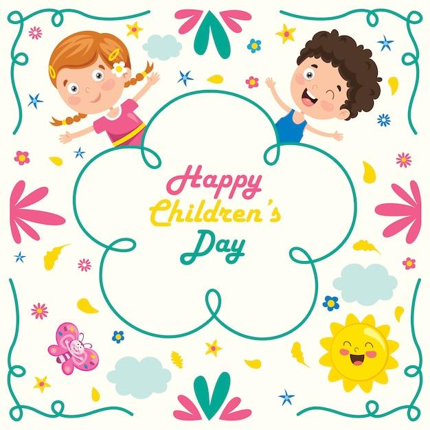 Bunte grußkarte für glücklichen kindertag Premium Vektoren