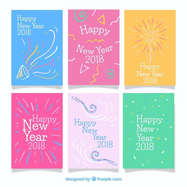 Bunte Grußkarten Für Neues Jahr 2018 Download Der Kostenlosen Vektor