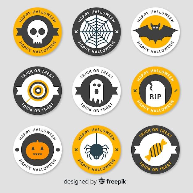 Bunte halloween-abzeichen sammlung mit flachen design Kostenlosen Vektoren