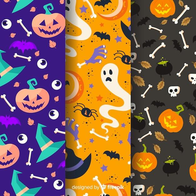 Bunte halloween-mustersammlung im flachen design Kostenlosen Vektoren