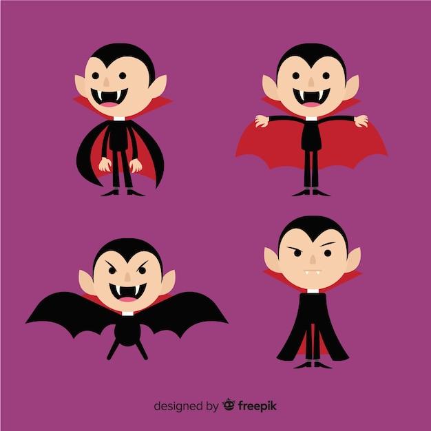 Bunte halloween-vampirschartsammlung mit flachem design Premium Vektoren