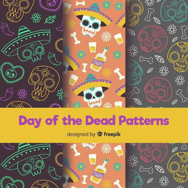 Bunte hand gezeichnete día de muertos-mustersammlung Kostenlosen Vektoren