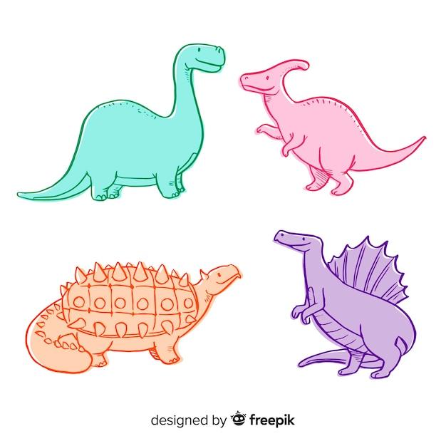 Bunte hand gezeichnete dinosauriersammlung Kostenlosen Vektoren
