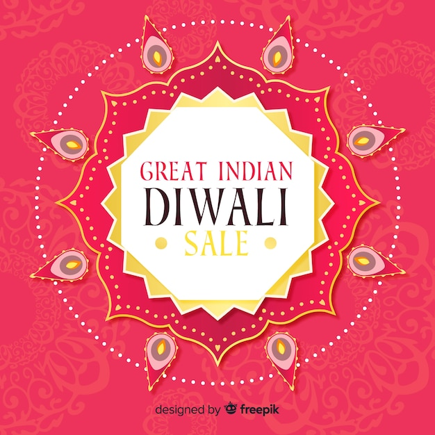 Bunte hand gezeichnete diwali verkaufszusammensetzung Kostenlosen Vektoren