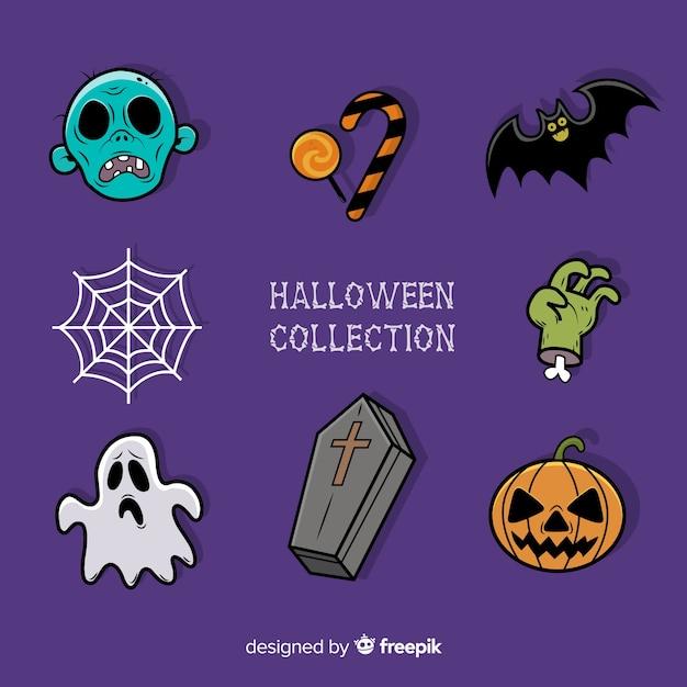 Bunte hand gezeichnete halloween-elementsammlung Kostenlosen Vektoren