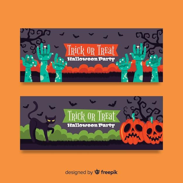 Bunte hand gezeichnete halloween-fahnen Kostenlosen Vektoren