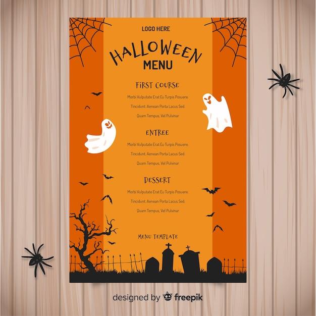 Bunte hand gezeichnete halloween-menüschablone Kostenlosen Vektoren