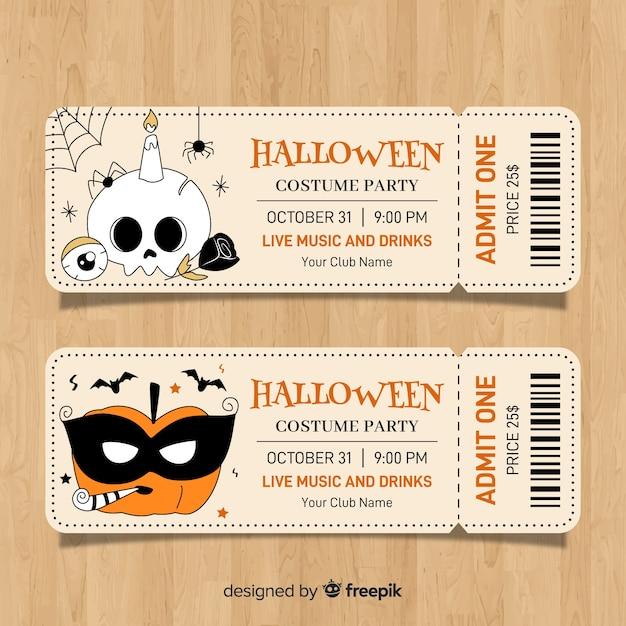 Bunte hand gezeichnete halloween-partykartenschablone Kostenlosen Vektoren