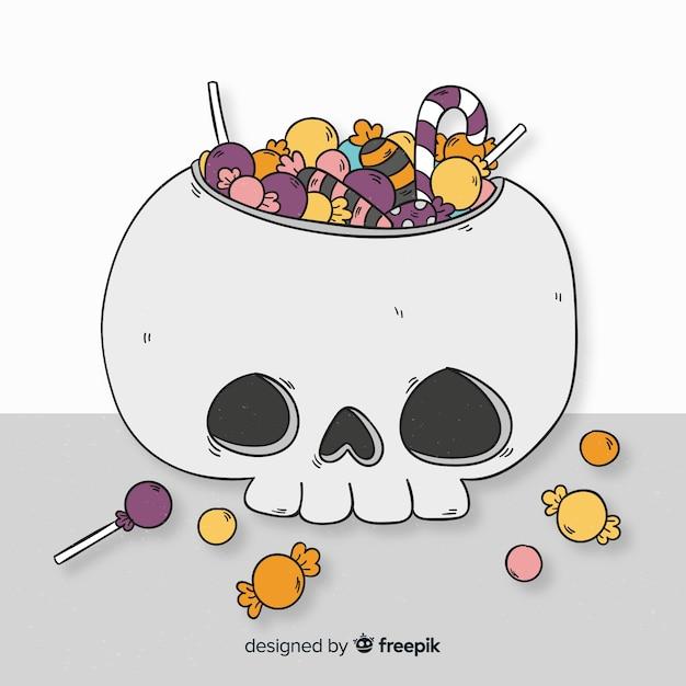 Bunte hand gezeichnete halloween-süßigkeitstasche Kostenlosen Vektoren