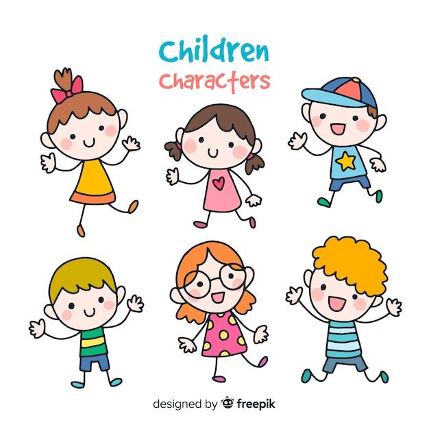 Bunte Hand gezeichnete Kindersammlung Kostenlose Vektoren