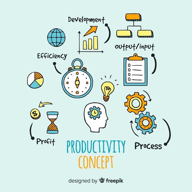 Bunte hand gezeichnete produktivität konzept Kostenlosen Vektoren