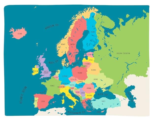 Bunte hand gezeichnete vektorkarte von europa Premium Vektoren
