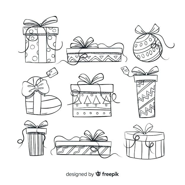 Bunte hand gezeichnete weihnachtsgeschenksammlung Kostenlosen Vektoren