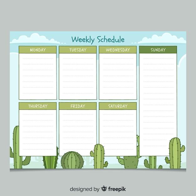 Bunte hand gezeichnete wöchentliche planerschablone Kostenlosen Vektoren