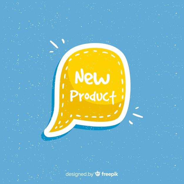 Bunte hand gezeichnete zusammensetzung des neuen produkts Kostenlosen Vektoren
