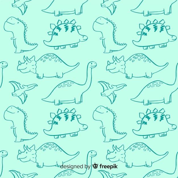 Bunte hand gezeichnetes dinosauriermuster Kostenlosen Vektoren