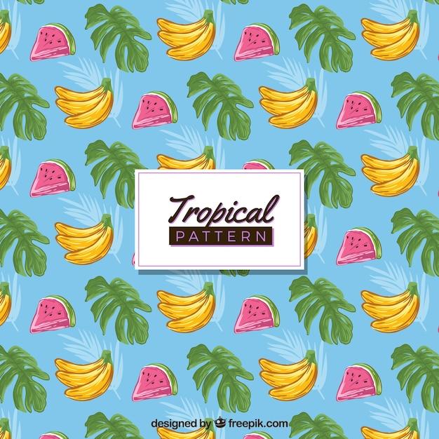 Bunte hand gezeichnetes tropisches muster Kostenlosen Vektoren