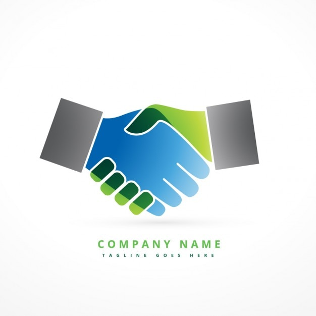 Bunte hand schütteln logo Kostenlosen Vektoren