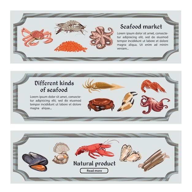 Bunte handgezeichnete horizontale meeresfrüchte-banner Kostenlosen Vektoren