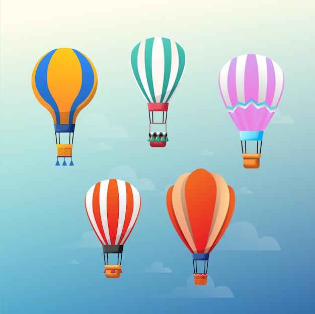 Bunte heißluftballone auf dem blauen himmel. Premium Vektoren