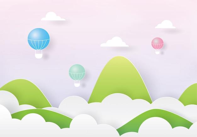 Bunte heißluftballone, die über die wolke und den berg fliegen Premium Vektoren