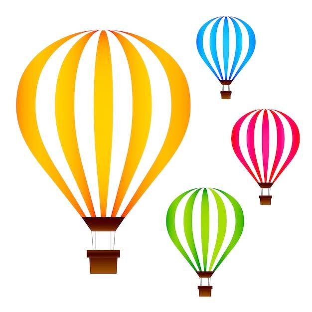 Bunte heißluftballone eingestellt lokalisiert auf weiß Premium Vektoren