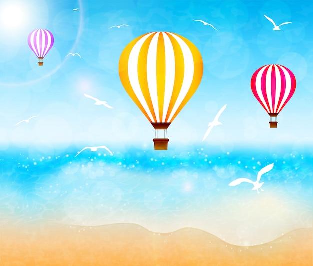 Bunte heißluftballone über dem meer. vektor-illustration Premium Vektoren